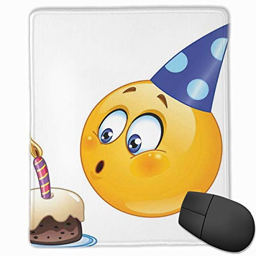 Mouse Mat Stitched Edges, Happy Emoji Face Celebration With Cone Hat Blowing Party Cake Print,Gaming Mouse Pad Non-Slip Rubber Base (Party-girl Hats)