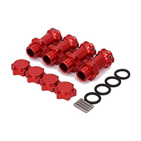 RCAWD Wheel Hex Hub Extension Adapter Anti-Dust Cap N10160 12mm Combinaison plus longue Coupleur M17 17mm M37 37mm Alloy Aluminium pour 1/8 RC Modèle Car Upgraded Parts HSP 4Pcs(Rouge)