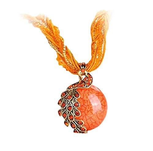 Offerte Donna Bohemian Jewelry Strass Gemma Collare Dichiarazione Collane Liquidazione (Arancia)