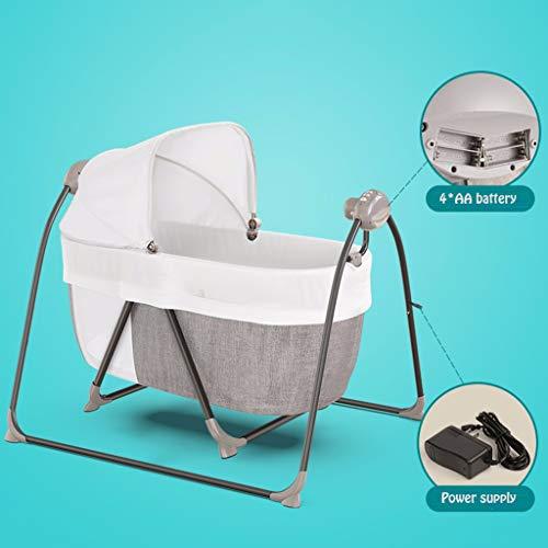 Xinjin Bebé Cama eléctrica Cuna Bebé Inteligente Bluetooth Swing 2-en-1 Escolta multifunción Big Space Music 0-36 Meses Adecuado for el Nacimiento
