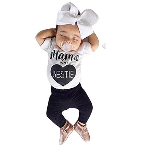 Bekleidung Longra Neugeborenen jungen Mädchen Kleidung drucken Baumwolle Kurzarm Baby Sommer Strampler Overall Body Outfits(0 -18 Monate) (70CM 0-6Monate, White)