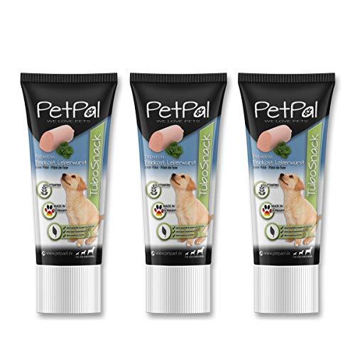 PetPäl Hunde Leberwurst Tube Leckerli TuboSnack Premium – 3er Pack | Leckerlie getreidefrei für den Hund - Auch für Welpen | Natürlicher Hundeleckerli Snack - Made in Germany