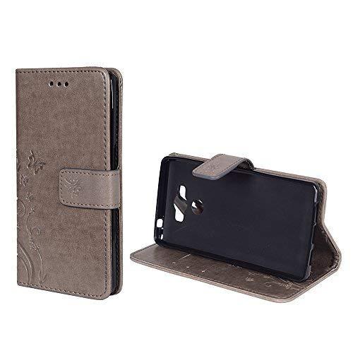 König-Shop Handy-Hülle für Elephone P9000 Tasche Case Cover Wallet Kunstleder Grau