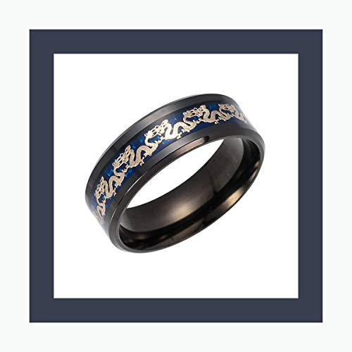 AXstore Schmuck Ring Titanium Steel Dragon Rings Chain Ring Black and Blue Man's Gifts Wedding Band Jewelry Size 6-12 Black 10