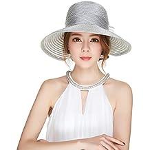 Haimeikang Mujeres Organza Bowknot Derby Iglesia Sombrero Sombrero de ala  Ancha Protección de Verano Sombreros Sun 5095c70b9be