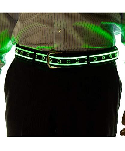 NEON NIGHTLIFE Männer leuchten LED Gürtel, Klein (Teenager), 23-29 Zoll Taille Größe, Grün