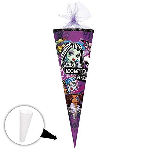 Unbekannt Schultüte -  Monster High  - 35 cm - rund - mit Tüllabschluß - Zuckertüte - mit / ohne Kunststoff Spitze - Nestler - Mädchen - Vampire Puppen / Frankie Stei..