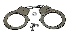 AEC Soft Steel Fuzzy Furry Cuffs Working Metal Handcuffs For Theme Party Supplies & Role Play (Silver)