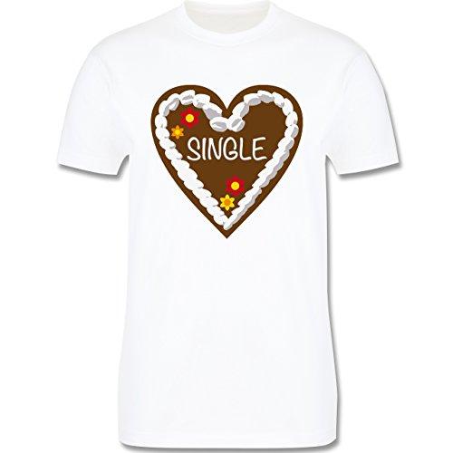 Oktoberfest Herren - Lebkuchenherz Single - Herren Premium T-Shirt Weiß