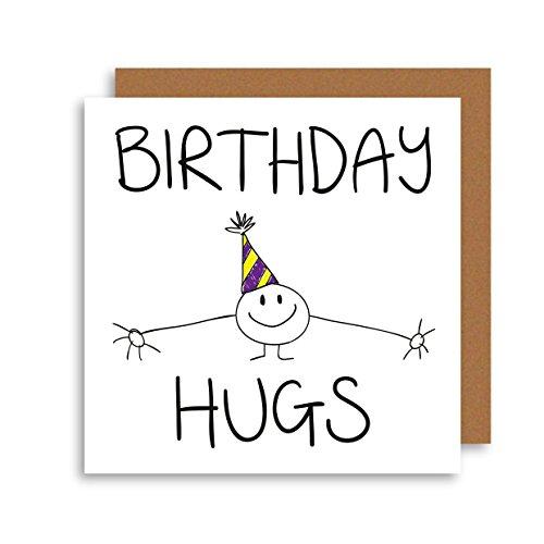 Süßer Happy Birthday–Einzigartiges Geburtstag Karte–Lustiger Geburtstag–HUMOR Geburtstag Karte–Geburtstag Umarmungen Illustration Grußkarte