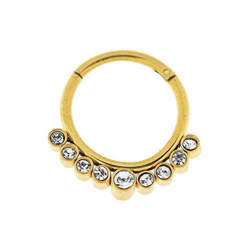 16 Gauge - 10 MM Länge Gold eloxiert Chirurgenstahl 9 Kristallsteinen gepflastert klappbar Segment Nase Ring Septum Piercing