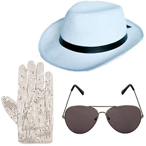 Islander Fashions King of Pop Hut Brille und Paillettenhandschuhe Kost�m Kost�m Zubeh�r (3 St�ck Set) One (Michael Jackson Kostüm Uk)
