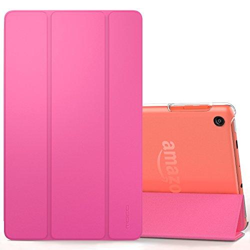 MoKo Hülle für All-New Amazon Fire HD 8 Tablet (7th & 8th Generation – 2017 & 2018 Modell) - Ultra Slim Lightweight Smart Cover mit Durchschaubar Rückseite Schutzhülle, Magenta