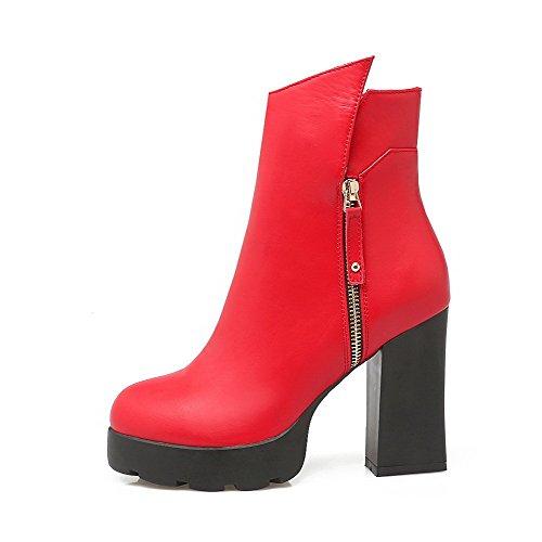 AgooLar Damen Niedrig-Spitze Rein Ziehen auf Rund Zehe Hoher Absatz Stiefel, Rot, 37