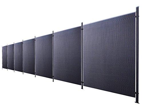 Poly-Rattan Sichtschutz / Zaun-Set 1-teilig schwarz ca. 1325cm Prime Tech