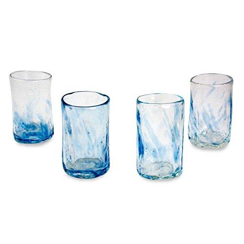 Novica Mundgeblasenes Glas Mezcal Schnapsgläser, Set 4, Lila mist-parent (252664-p) Himmelblauer Nebel blau