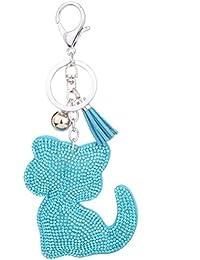 Amybria Tier Stil Katze Form Schlüsselanhänger Kristall Strass Schlüssel Zubehör Schlüsselring Legierung Karabinerverschluss Schlüsselwölbung Anhänger Dekoration Schlüsselhalter für Tasche Geldbörse Auto Blau 1
