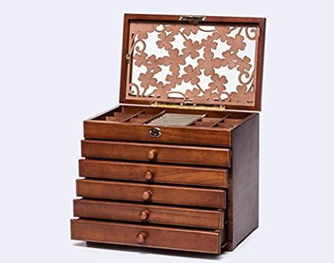 MEYLEE Antiken Farbe Hand gemacht aus Holz Schmuck Box Lagerung Organizer mit Mini-Reise-Etui und Schloss Hochzeitsgeschenke , brown , b
