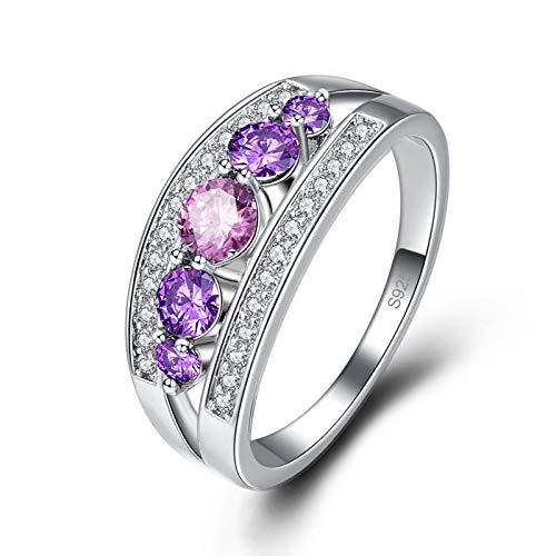 QiXuan Frauen Amethyst & Regenbogentopas Rundschnitt 925 Silber Ring Edelsteine   Shinning Schmuck - Amethyst Teardrop Ringe