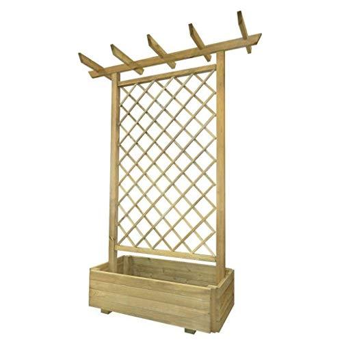 WT Trade Premium Garten Pergola mit Pflanzenkasten 162x56x204cm | imprägniertes Holz | Blumen...
