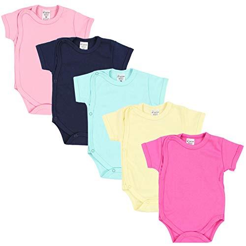 TupTam Baby Mädchen Kurzarm Wickelbody Baumwolle 5er Set, Farbe: Farbenmix 1, Größe: 74