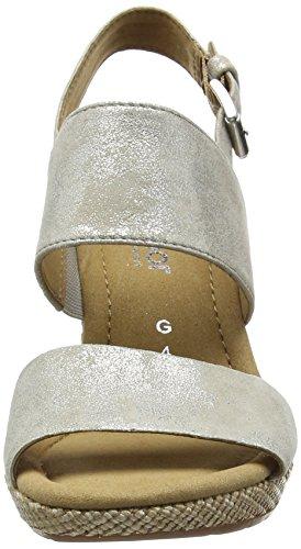 Gabor Anna Damen Durchgängies Plateau Sandalen Beige (Beige Metallic Leather)
