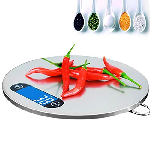 WSJS Ultrathin Edelstahl Electronic Scale Hanging Kitchen Skala Round Food Skala Touch The Keys 5KG 200×200×16mm