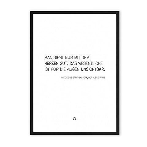 Kleine Prinz - Zitat - einzigartiger Kunstdruck mit Spruch auf