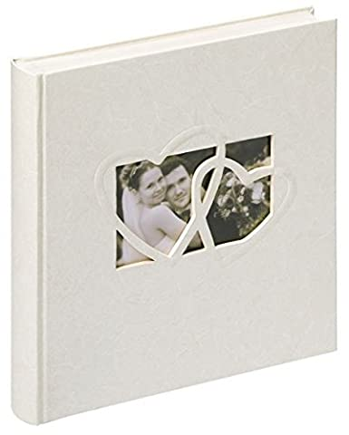 walther design UH-123 Sweet Heart book bound wedding album with high quality cover & blind embossing, die cut for your personal picture, 2 illustrated introduction pages, 11 x 12 inch (28 x 30.5 cm), 60 white pages, white