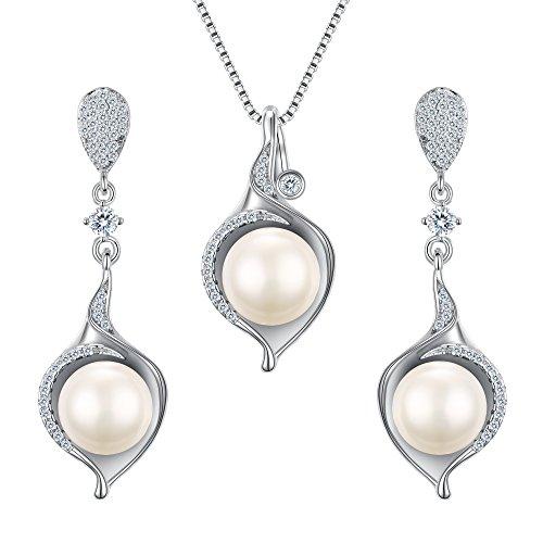 tenye 10mm AAA Süßwasser-Zuchtperlen, Tropfenform, Halskette, Ohrringe, Zirkonia, Sterling-Silber 925 (Süßwasser-zuchtperlen Halskette Triple)