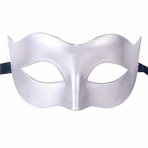 Gesichtsschutz Domino falsche Front Halloween Kostüm Tanz Maske Halbes Gesicht Tanz Maske Flache Maske männliche Maske Weiblich weiß ()
