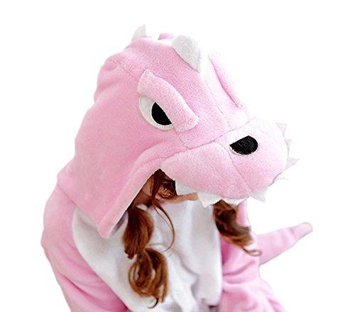 Très Chic Mailanda Unisex da adulto Costume Intera Pigiama Cosplay Animale Pigiama costume di Halloween(dinosauro) (L, Rosa)