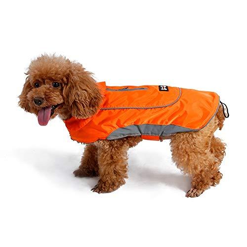 Sie Zusammen Werfen Kostüm - Haustier Mantel Jacke Vintage Stil Licht Reflektierende Winter Warme Weste Mit Harness Loch, Hunde Winddicht Und Wasserdicht Kaltem Wetter Mäntel Dick (Color : Orange, Size : S)