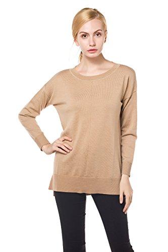 3/4 Sleeve Wool Pullover (Knitbest Damen Pullover Medium Gr. S, camel)