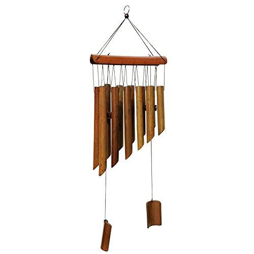 """maymii grande 65cm (25"""") 12tubos doble antiguo naturaleza bambú Feng Shui carillón de viento para interiores de madera Melody viento Bell"""