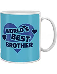 Indigifts Crystal Rakhi , World's Best Brother Quote Printed Mug 330 Ml,Roli, Chawal & Greeting Card For Men And Boys
