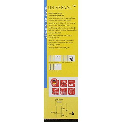 BURG-WÄCHTER Briefkasten-Ständer  Universal 150 Si, bestehend aus 2 Rohren, verzinkter Stahl, silber, 150 x 3,2 x 3,2 cm - 2