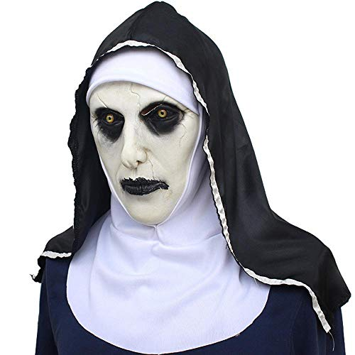 Kostüm Terror - AOLVO Ugly Maske, Naturlatex, Böse und Terror Gesichtsmaske für Mann und Frauen, realistische schreckliche Halloween, Maskenböse und Cosplay, Kostüm, Party-Dekoration, Requisiten Evil Nun Mask