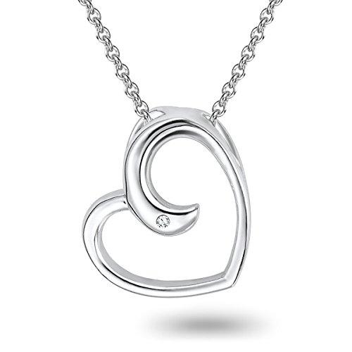 Rafaela Donata Damen-Kette mit Anhänger 925 Silber rhodiniert Diamant (0.01 ct) Rundschliff weiß 42 cm - 60915004