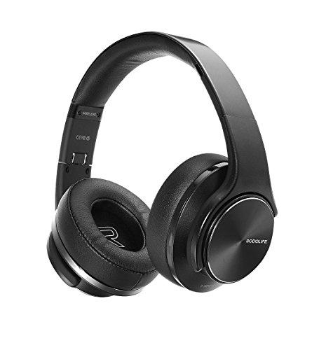 2 in 1 Kabellose Kopfhörer & Lautsprecher, Sodolife Bluetooth Kopfhörer Over Ear Headset Wirless Ohrpolster Base Hörer Kompatibel mit Geräuschunterdrückung SD Card Slot& Radio (Schwarz) (Zwei-wege-radio-headset)