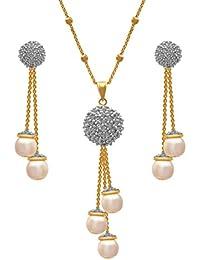JFL- Fusion Ethnic Cz Cubic Zircon American Diamond One Gram Gold Plated Pearl Designer Pendant Set With Chain...