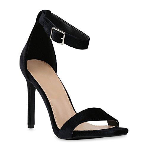 n Sandaletten Stiletto High Heels Party Braut Hochzeit Abschlussball Nieten Prints Schuhe 130333 Schwarz Schnalle 40 Flandell (Braut High Heels)