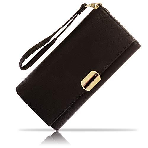 Portafoglio donna grande elegante sottile portamonete con cerniera porta carte di credito porta documenti tasca capiente per carta d'identità e passaporto porta cellulare confezione regalo
