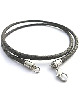 Lederkette Lederschmuck Ledercollier geflochten, Lederband schwarz, Durchmesser ca. 4mm, versch.Längen von ca....