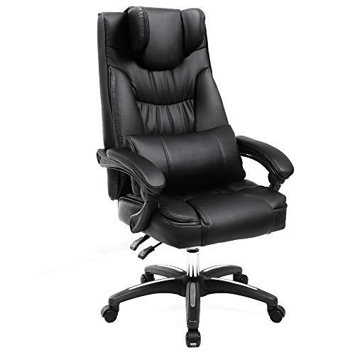 SONGMICS Erstellt, Bürostuhl mit klappbarer Kopfstütze extra großer orthopädischer Chefsessel ergonomischer Schreibtischstuhl schwarz OBG76B