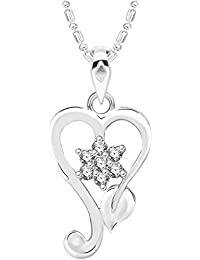 VK Jewels Leaf Heart Rhodium Plated Alloy CZ American Diamond Pendant With Chain For Women [VKP2610R]