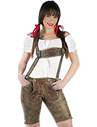 German Traditional Costume Genuine Lederhose Women with Chest Harness and Embroideries Knee Length High Quality