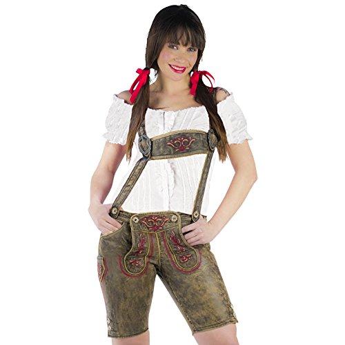 Trachten Echt Lederhose Damen mit Brustgeschirr und Stickerei knielang sehr hochwertig - L