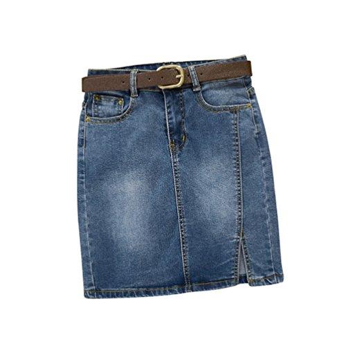 Dooxii Mujer Verano Cintura Alta Casual Falda Corta cinturón Elasticidad  Bermudas Falda Corta Azul 2XL 61c4d3244857