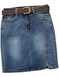 Dooxii Mujer Verano Cintura Alta Casual Falda Corta cinturón Elasticidad Bermudas Falda Corta